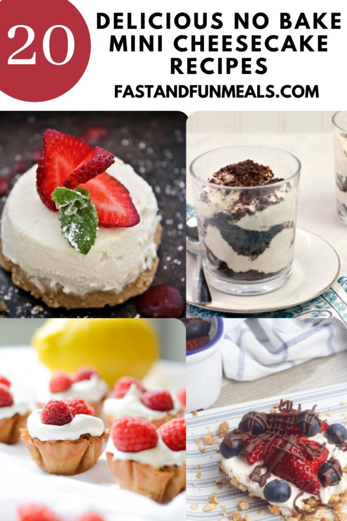 advertisement image for 20 delicious mini no bake cheesecake recipes