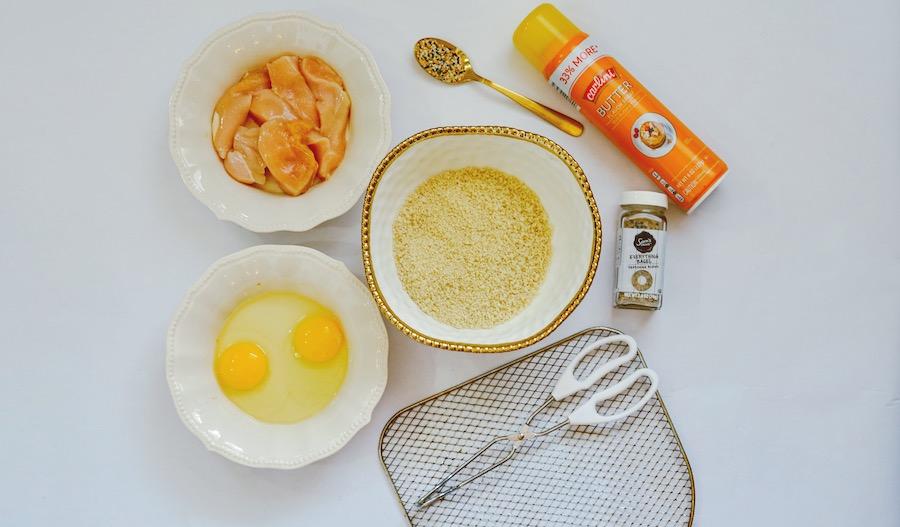 Ingredients for making everything bagel seasoning chicken tenders.