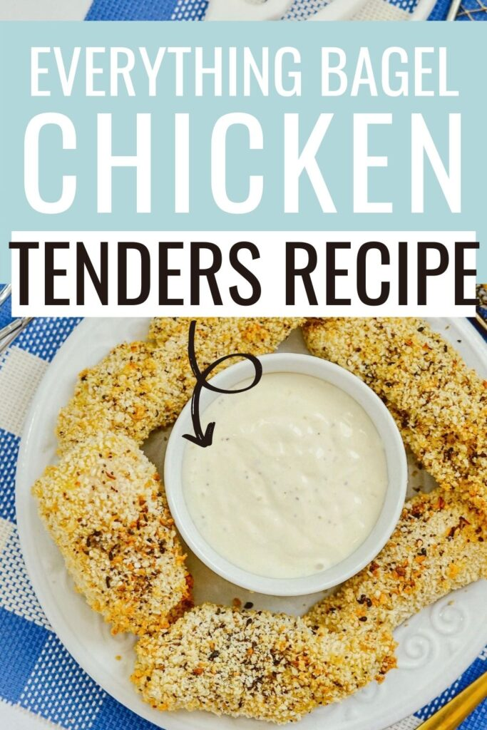 Pin showing the finished air fryer everything bagel chicken tenders recipe.