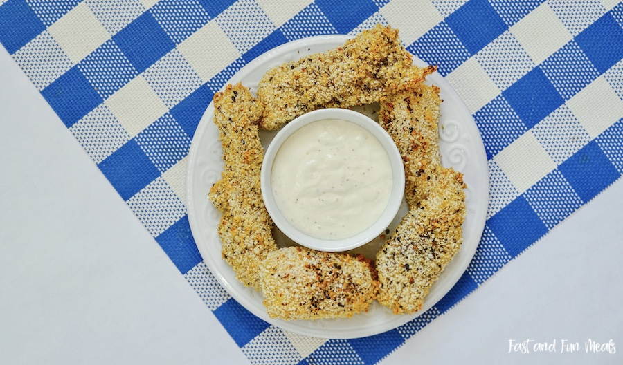 Featured image showing the finished everything bagel chicken tenders ready to eat.