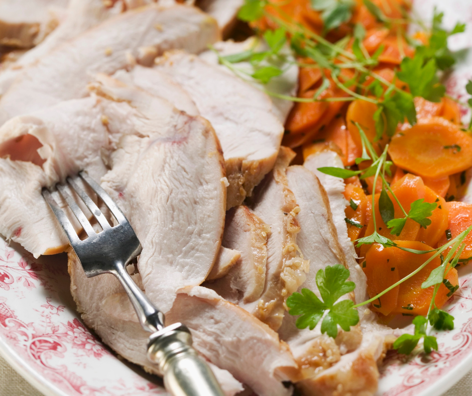 featured image showing leftover turkey ready to be used in recipes for leftover turkey.