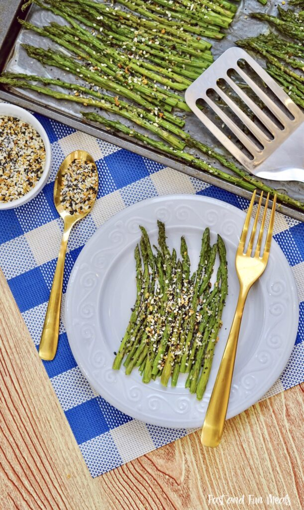 Finished sheet pan asparagus ready to eat.