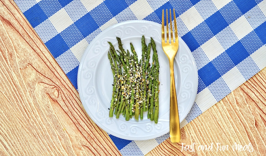 Finished and ready to eat everything bagel seasoning sheet pan asparagus.