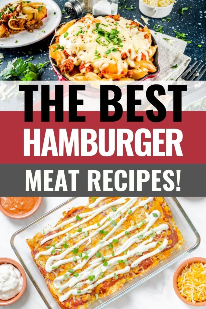 pin showing the best recipes for hamburger meat with title across the middle.